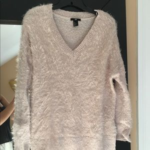 Baby Pink Fuzzy Vneck Sweater